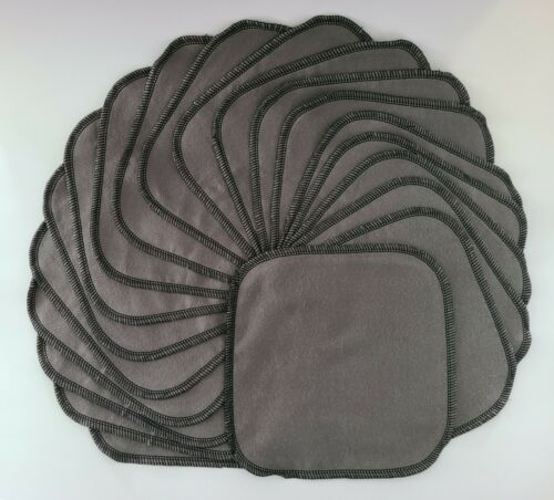 """Cloth Wipes 20 Flannel 8"""" Dark Grey Reusable TP Baby Tissue Napkin 1 or 2 Ply"""