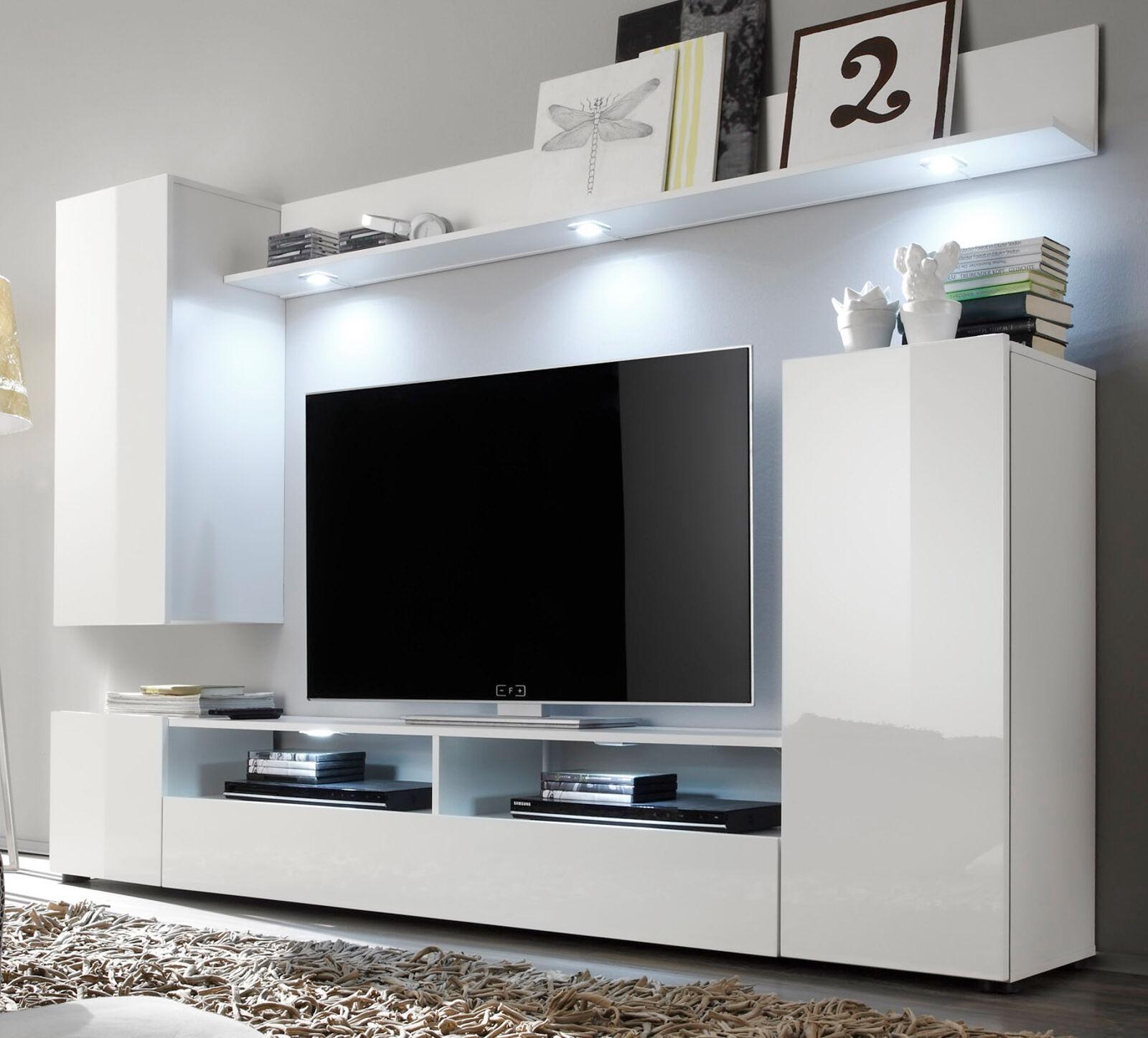 Wohnwand weiß Hochglanz Fernsehschrank Wohnzimmer TV/HiFi Möbel Medienwand DOS