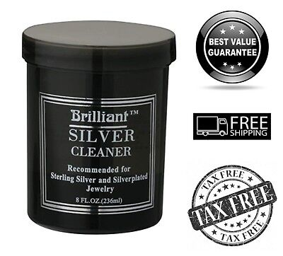 Jewelry Cleaner w/ Cleaning Basket and Brush 8 Oz Non-Toxic for Sterling Silver