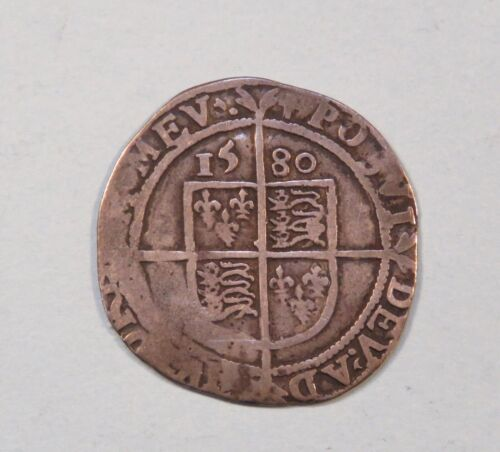 1580 Great Britain Silver Six Pence World Coin England UK 6p Queen Elizabeth I