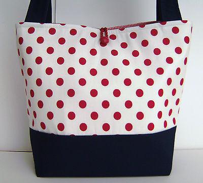Fashion Polka Dot Tote - RED WHITE NAVY POLKA DOT HANDBAG PURSE TOTE BAG POCKETBOOK RETRO MOD FASHION