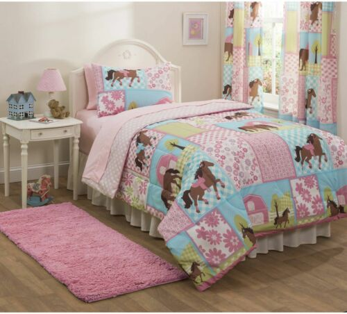 NEW Twin Size Mainstays Kid  Country Meadows Horse Pony Bed in Bag Comforter SET