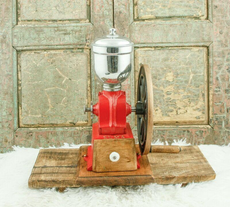 Antique Elma Spanish Cast-Iron Coffee Grinder Mill Koffiemolen Moulin Cafe Red