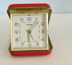 Vintage Seiko Travel Alarm Clock Folding Red Leather Case