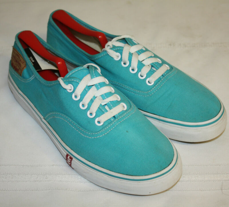 Mens Levi's Turquoise Canvas Lace Up Sneakers Shoes Size 9M