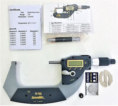 New Digital 3-4 Absolute Electronic Digital Micrometer .00005 Reading