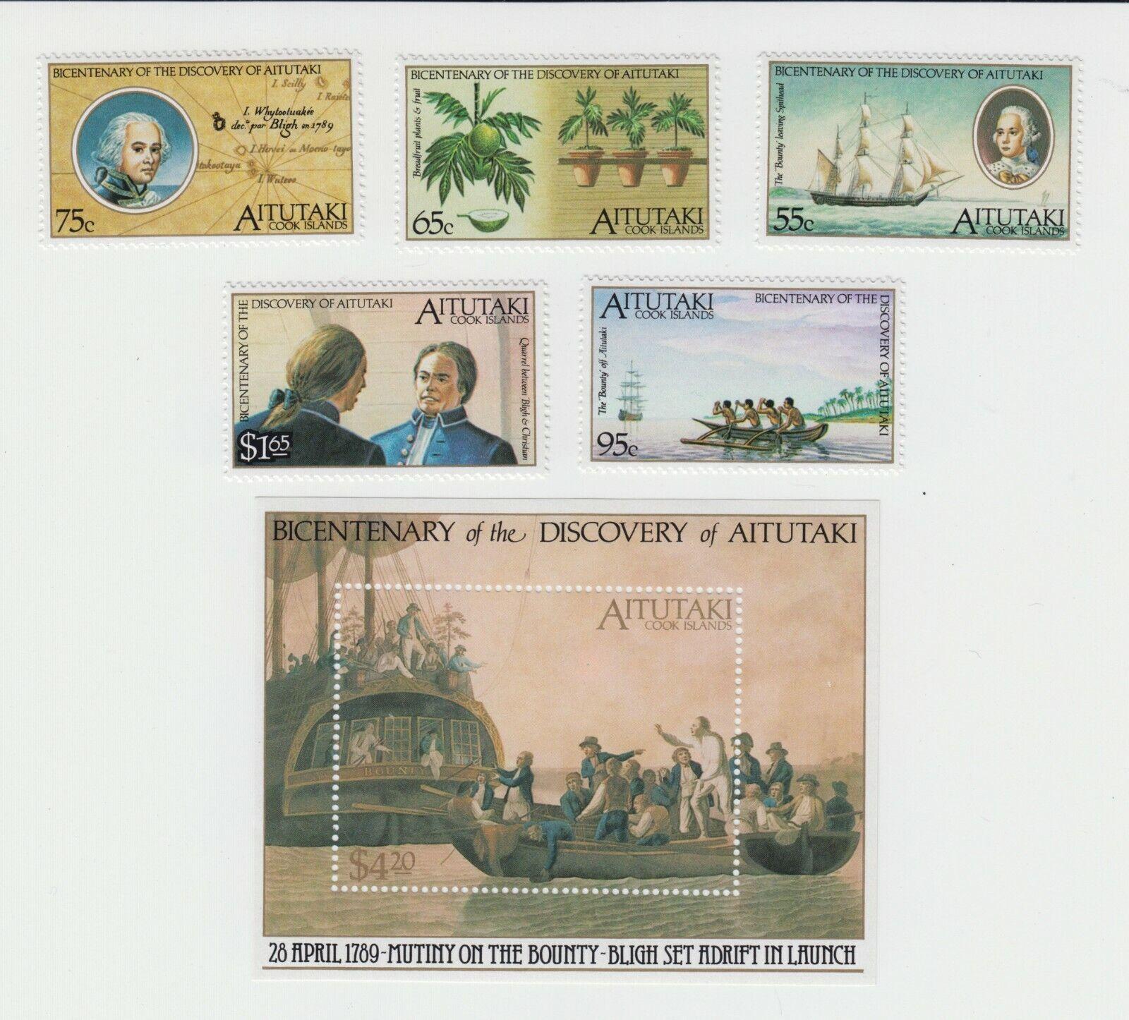 Aitutaki MiNr. 648652 und Block 72 postfrisch Discovery of Aitutaki