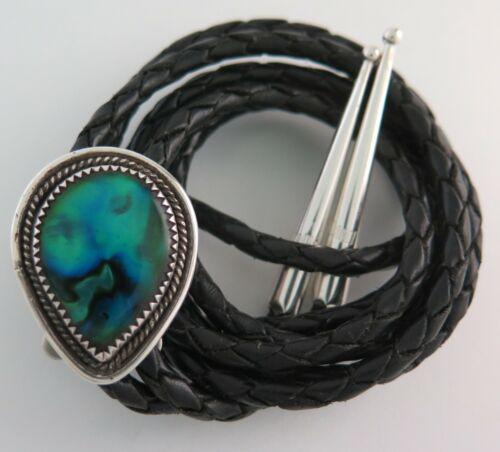 Southwestern Sterling Silver Blue Green Abalone Teardrop Bolo Tie
