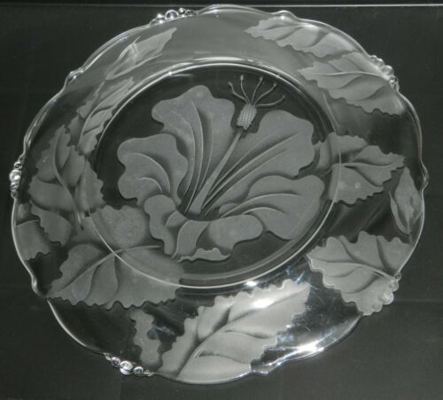 """Vintage 10.5"""" Hawaii Etched Glass Hibiscus Dish Plate bead accent edge"""