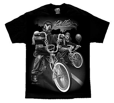 Cruising Lowrider Bike IT Clown Joker Cholo Gangster David Gonzales DGA T Shirt - Gangster Clown