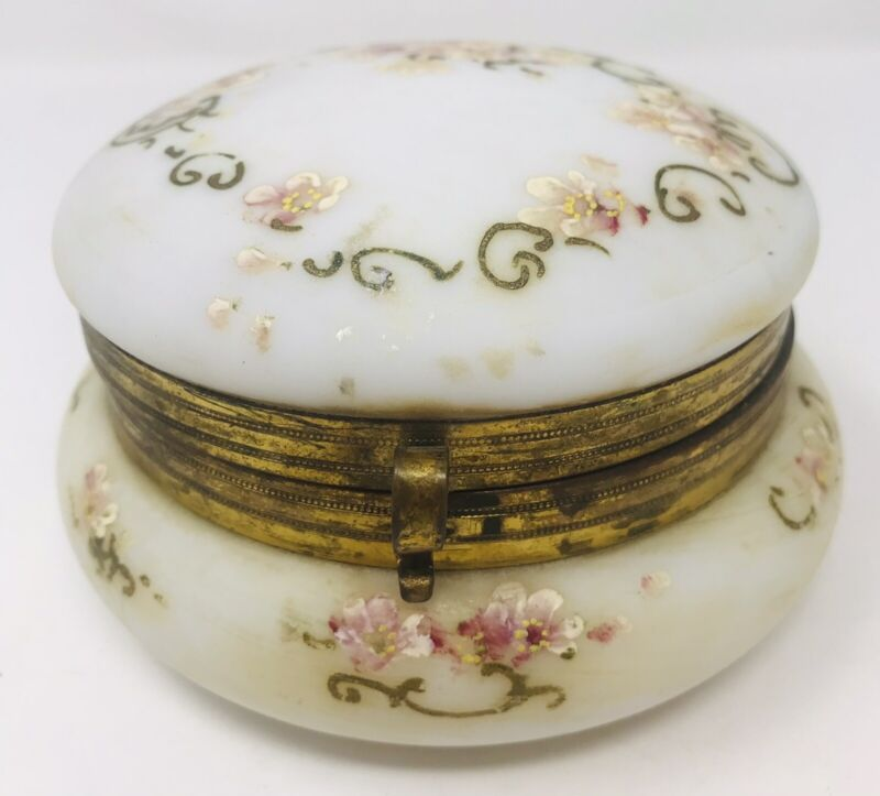 Antique Hand Painted Floral Glass Powder Trinket Box Hinged Silk Lined Lid Flaws