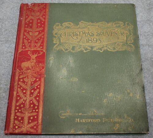 ANTIQUE 1893 HARTFORD FIRE INSURANCE CO SOUVENIR CHRISTMAS BOOK