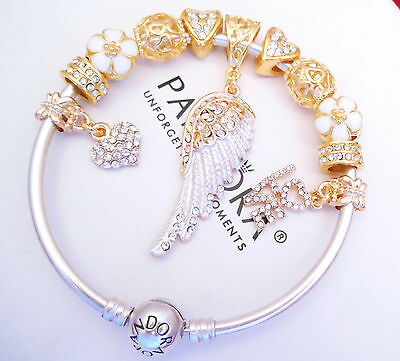Authentic Pandora Silver Bangle Bracelet with European charms GOLD LOVE