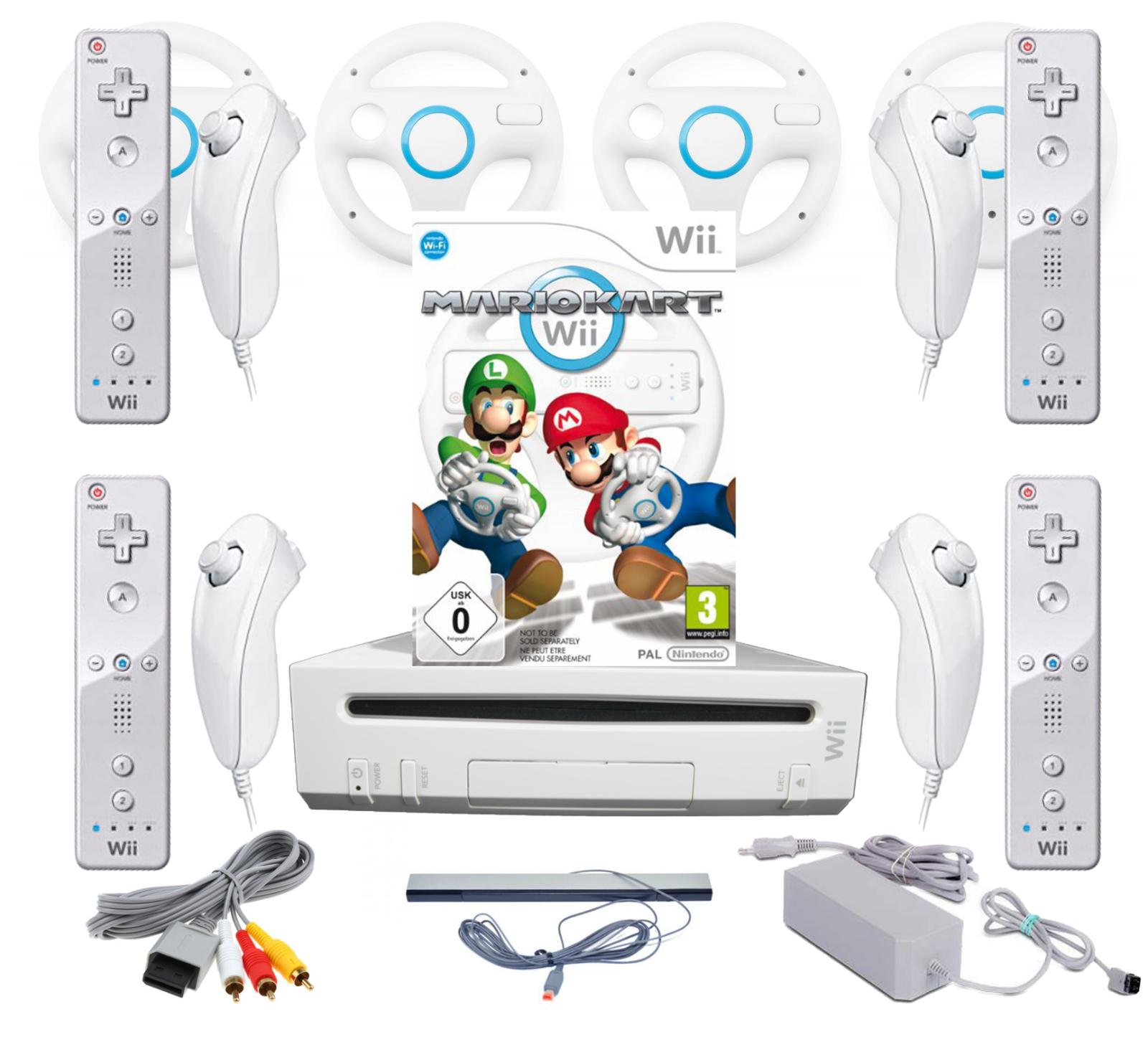 Nintendo Wii Sets + Mario Kart, Wii Fit, Party Spiele + 1-4 Spieler Mega Auswahl