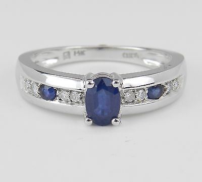 14K White Gold Diamond and Sapphire Engagement Ring Promise Ring Size 7