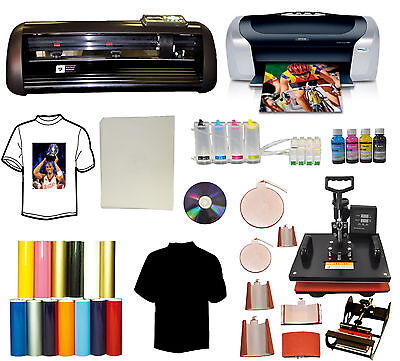 8in1 Combo Heat Press14 Vinyl Cutter Plotterprintercisspu Start-up Bundle