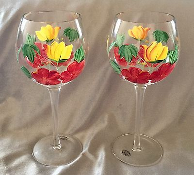 2 Home Essentials Hand Painted Wine Glasses With Flowers