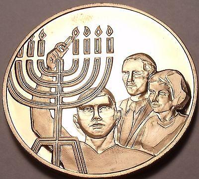Massive Franklin Mint Bronze Proof Medallion~9 Candle Israel Manorh~Free Ship