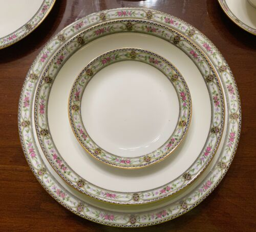 RARE! Set of 84 Antique Limoges France Elite Works China Black/Pink/Green/Gold