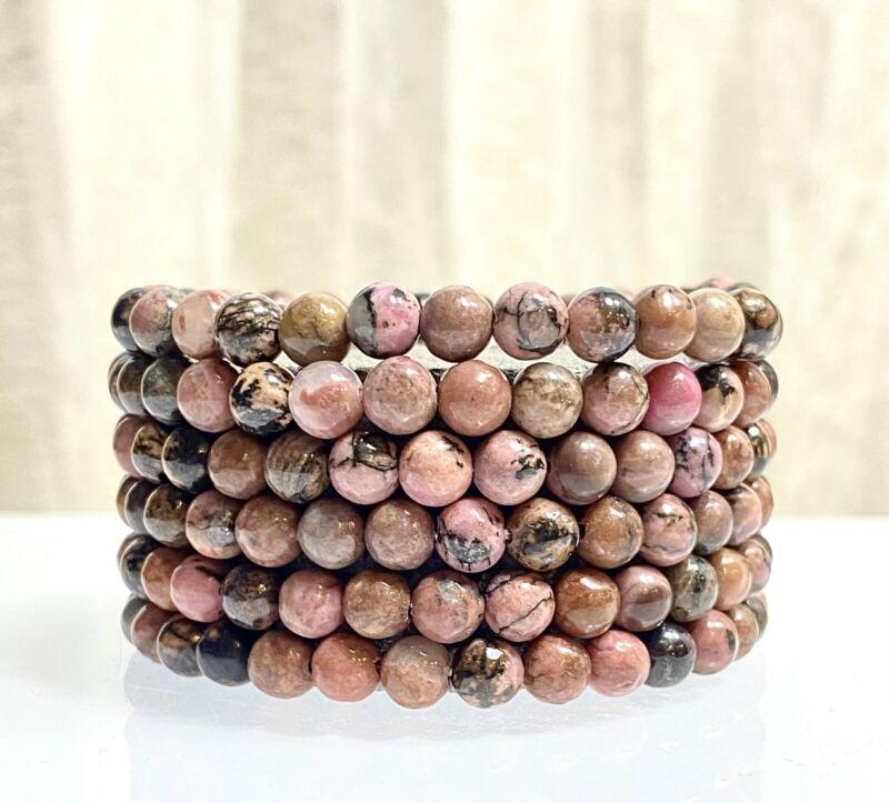 "Wholesale Lot 6 Pcs Rhodonite 6mm 7.5"" Crystal Healing Stretch Bracelet"