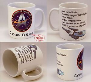 Personalised STAR TREK Mug, Birthday Christmas Gift Idea Present, USS Enterprise