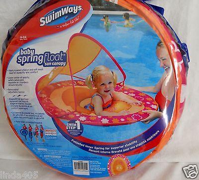 SWIMWAYS SWIM STEP 1 BABY SPRING FLOAT SUN CANOPY AGES 9-24 MOS PINK & ORANGE