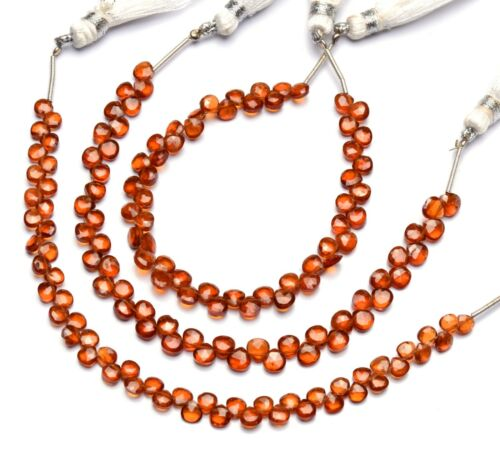 "Natural Gem Hessonite Garnet Faceted 4mm Heart Shape Briolette Beads 7"" Strand"