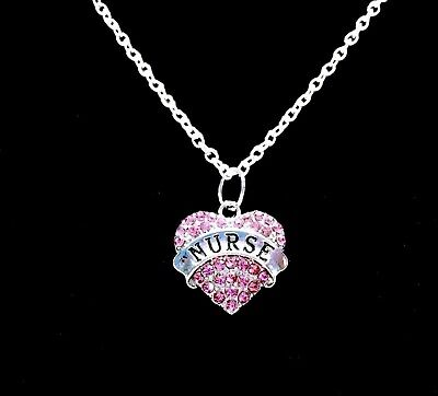 Gifts For Nursing Graduates (Pink Nurse Necklace Heart Graduation Christmas Gift For RN LPN Nurses)