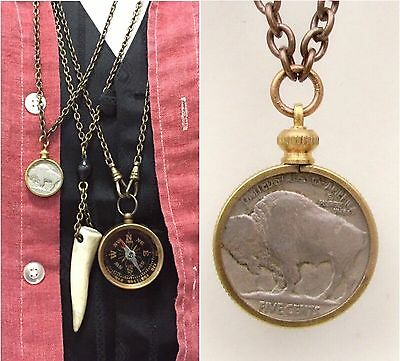Antique Buffalo Nickel Necklace Vtg Chief coin pendant Men's jewelry old (Coin Pendant Necklace Jewelry)