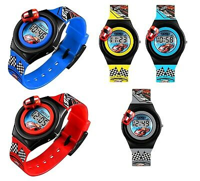 Cartoon Kids Digital Watches Cute Rubber Boys Girls Movable Car Wristwatches