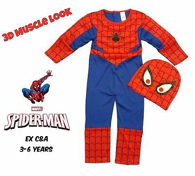 Boys SPIDERMAN Superhero Costume Fancy Dress outfit Kids Children Book Week C+A