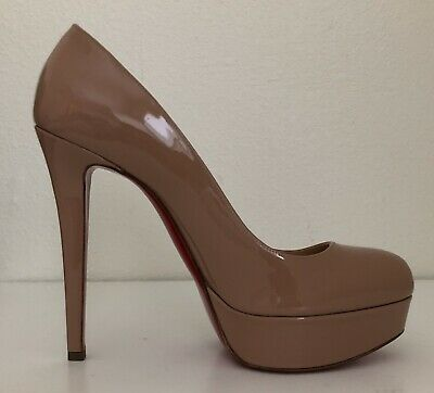 NIB Christian Louboutin Bianca 140 Nude Patent Platform Classic Heel Pump 39.5