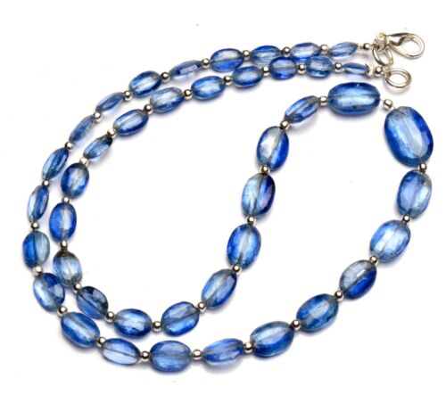 """Natural Gem Kyanite 7x5 to 14x10mm Faceted Oval Shape Nugget Beads Necklace 18"""""""