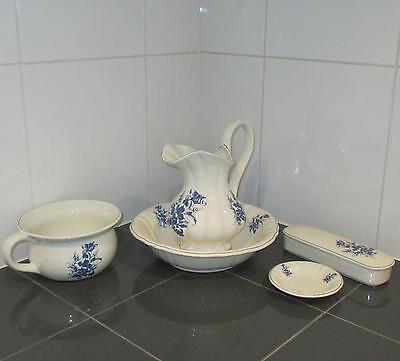 Waschset Waschgeschirr Antik Lavabo Waschschüssel Krug Seifenschale Blau Deko