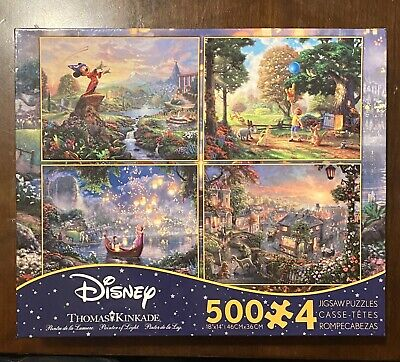 Thomas Kinkade Disney Puzzles 4x 500pc Tangled Fantasia Winnie Pooh Lady Tramp