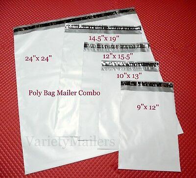 40 Poly Bag Postal Envelope Mailer Combo 5 Medium Large Self-sealing Sizes