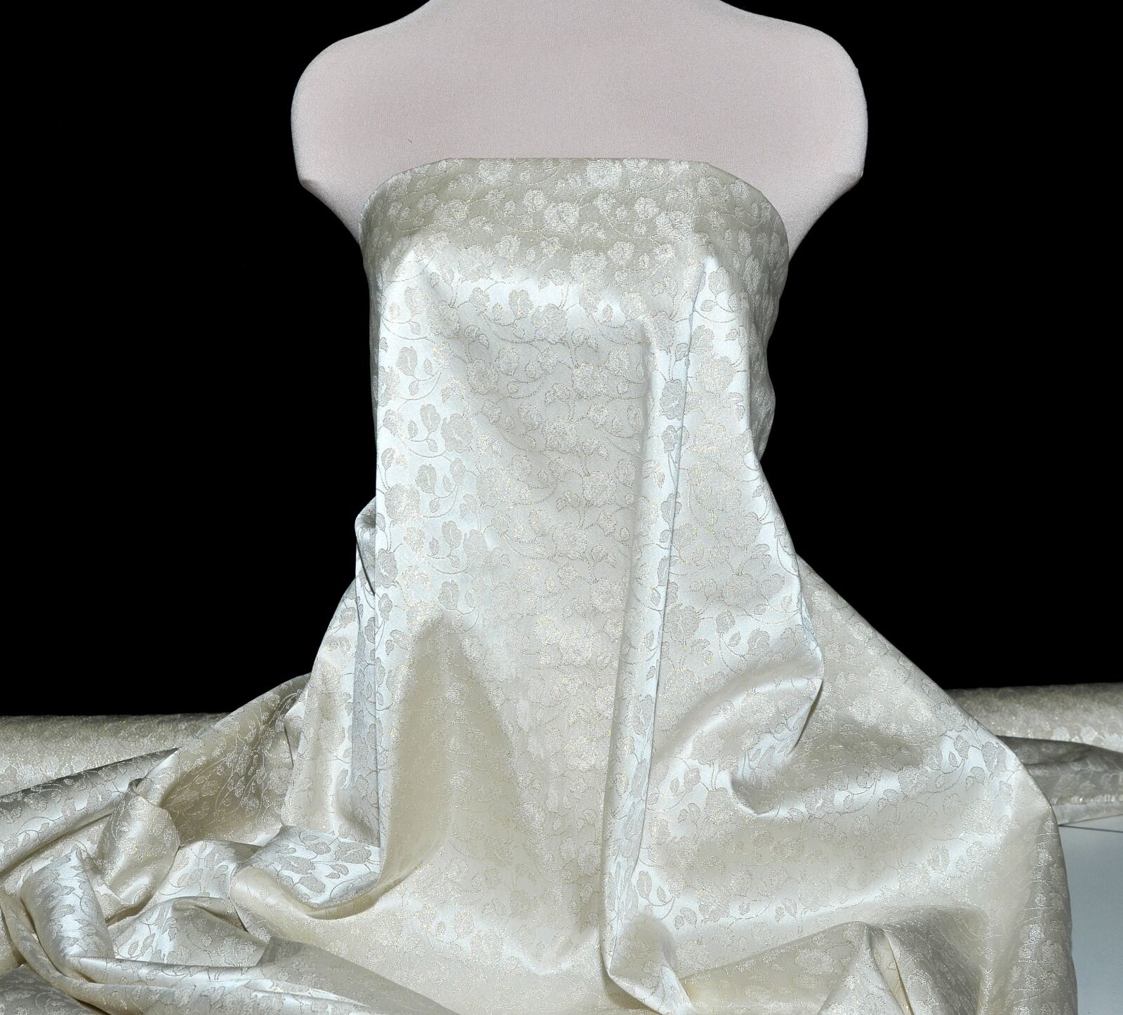 Brocade Satin Fabric Gold White 56 Wide By