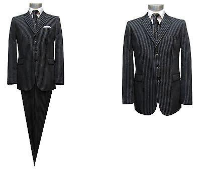 Herren Anzug gestreift 3-teilig Muga Gr.54 Schwarz