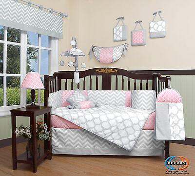 Baby Salmon Pink & Gray Chevron 13 Piece Nursery CRIB BEDDING SET