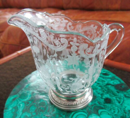 Antique Cambridge Glass Sterling Silver Chantilly Pattern Sugar & Creamer Bowl