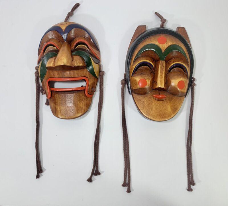 Korean Traditional Hahoe Wood Masks Yangban & Bune Hand Carved
