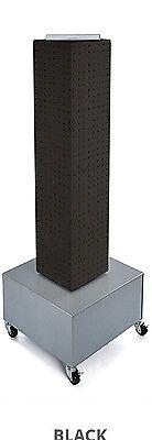 Black Interlocking Pegboard Display With Wheeled Base 8w X 40h Inches