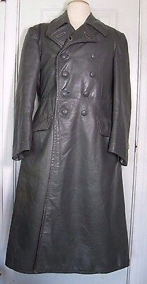 WW2  German Wehrmacht Officers leather Greatcoat - Overcoat sz 36 small