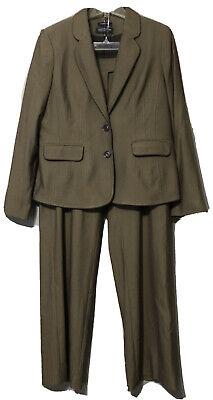 Jones New York Collection Womens Brown Blazer Pant Suit Size 12