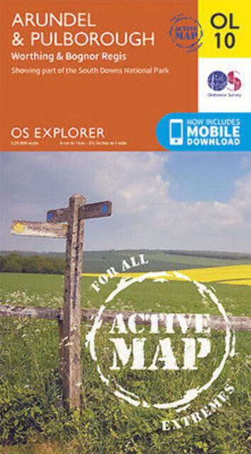 OL10 Arundel Pulborough  LAMINATED ACTIVE Explorer Map OL 10