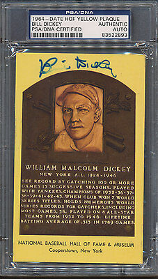 1964 HOF Plaque Bill Dickey PSA/DNA Certified Authentic Auto Autograph *2893