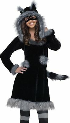 Raccoon Costume Girls Teen Tween Plush Furry Sweet Dress Racoon Hoodie - J 0-9 (Girls Racoon Costume)