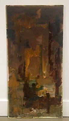 """1965 Midcentury Abstract Oil Painting by Kenneth Chatman(?) """"Tropic Gardens"""""""