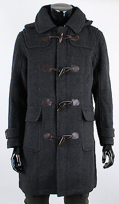 Mens Edwin Wool Detachable Hoodie Duffle Long Winter Coat Charcoal Jacket Size M