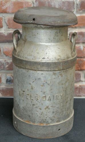 Antique Kannapels Dairy  Indiana 5 Gallon Steel Milk Can Circa 1950s MCM